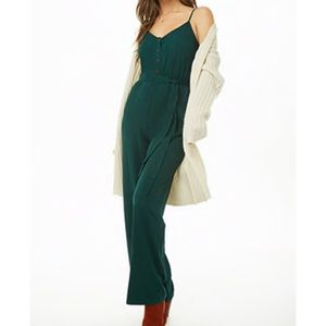 Forever21 Green Sleeveless Jumpsuit with Buttons